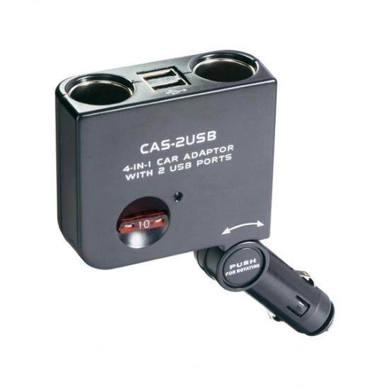 Rozbočovač pre autozásuvky, 10 A, s 2 x USB