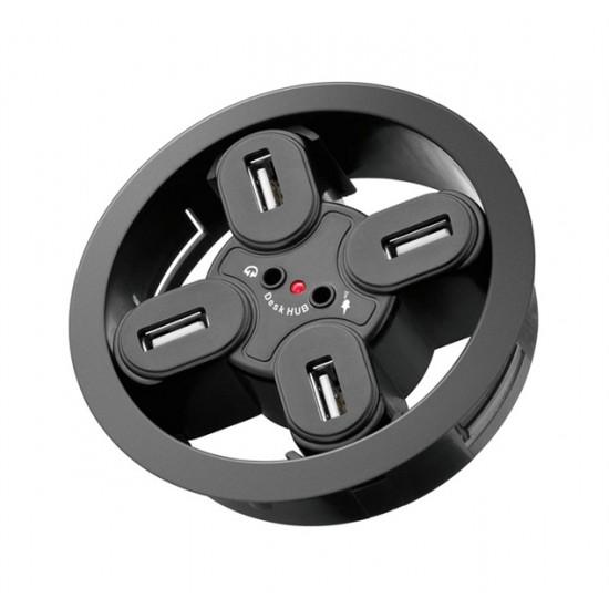 Redukcia USB hub 4 porty, 2 x audio jack 3,5 mm k zapusteniu do dosky pracovného stola