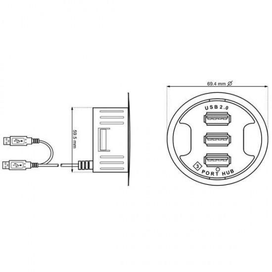 Redukcia USB hub 3 porty, k zapusteniu do dosky pracovného stola