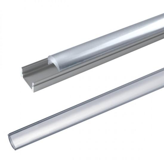 AL profil pre LED, AL60 + plexi (vypuklé) pre zapustenie 17,1x13mm, l=1m
