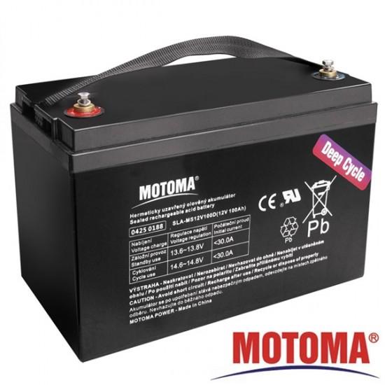 Batéria olovená 12V/100Ah - Trakčná MOTOMA bezúdržbový akumulátor
