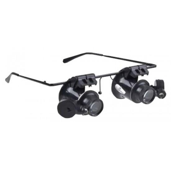 Binokulárna lupa, zväčšovacie okuliare mikroskop 20x s osvetlením