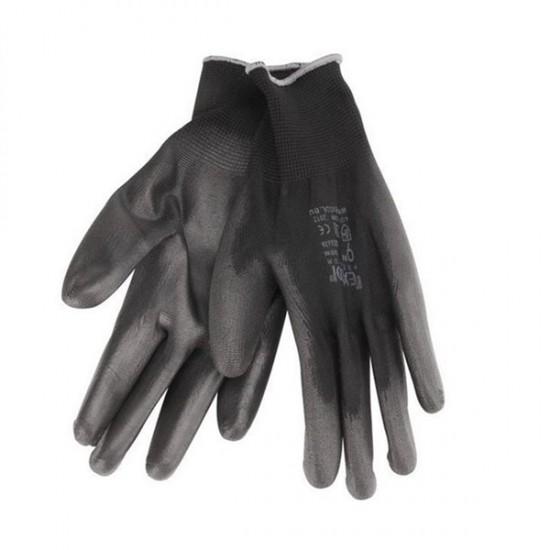 Rukavice z polyesteru polomáčané v PU, čierne, 250mm, EXTOL PREMIUM