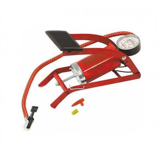 Pumpa nožná s manometrom jednopiestová červená