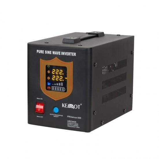 Záložný zdroj PROsinus 500W 12V/ 230V KEMOT čierny